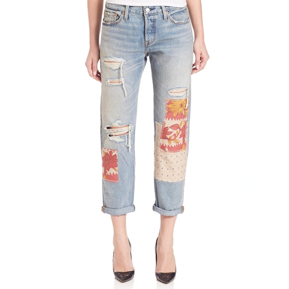 Levi's 501 Distressed Patchwork Boyfriend Jeans